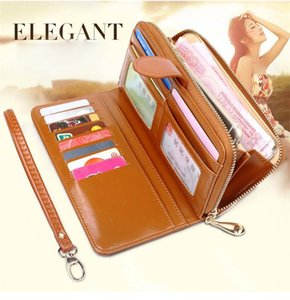 20pcs DHL Wax Skin Wallet long zipper mobile phone bag female oil skin big money clip card bag