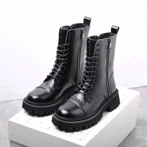 The Latest Model Winter BB Knee-High Cowskin Women Martin Boots Luxurys Designers Shoes Womens Genuine Leather Thick Bottom Knight boots