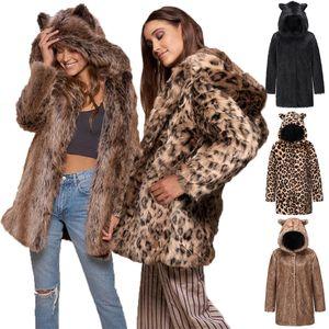 Donne Faux Fur Cappotti Cute Hooded Inverno Cappotto caldo Cappotto caldo Leopard Solid Manica Lunga lunga Giacche lunghe High Fashion Donne Capispalla