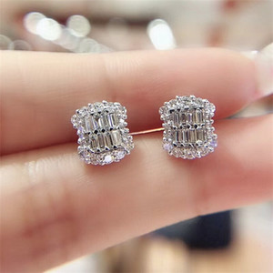 2020 New Arrival Luxury Jewelry Sparkling 925 Sterling Silver Princess Cut White Topaz CZ Diamond Gemstones Popular Women Stud 74 L2