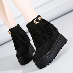 Tassel Short Boots Women Wedges High Heel Thick Bottom Cotton Shoes Black Platform Ankle Boots For Woman