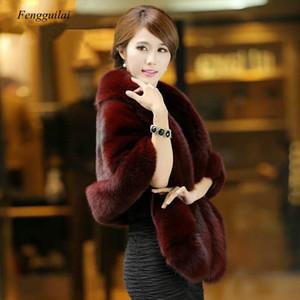 165*55 Cm Plus Size Women Fur Shoulder Wrap Burgundy Bridal Shawls Cape White Black Faux Fur Wedding Coat