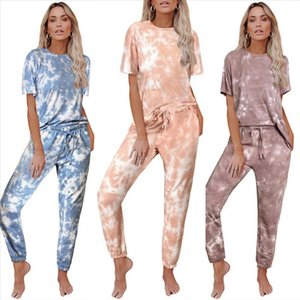 Casual Women Pants Set Female 2 Piece Relaxed Outfits T Shirt Pencil Pants Suit Tie Dye Women Two Piece Sets Tracksuit Sweatsuit