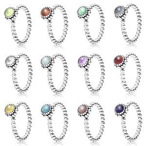 Di alta qualità 100% S925 Sterling Silver Dicembre NOVITÀ 1: 1 Anello di richiamo di compleanno Zircone Pink Peridot Grigio Garnet Multicolor Choice1