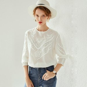Blouse Women Pullover Shirt Vintage Embroidery Elegant Simple Design O Neck Long Sleeves Graceful Style New Fashion