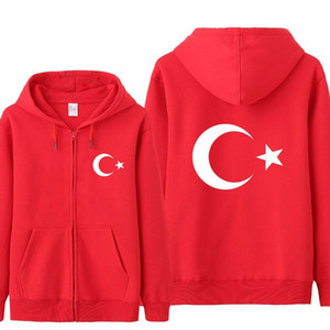 OmnITEE Cool Flag Hoodies Chapúsculo Homens Casual Outono Jaqueta de Fleece Zipper Pullover Turquia SuéterCool