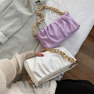 Elegant Chain Bag Leather Shoulder Handbags Female Clutch Evening Party Purse Women Cloud Underarm Totes Q1119