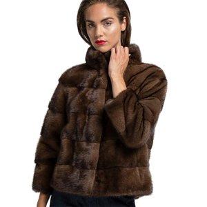 TopFur Herbst echte Natürliche Jacke Frau Mode Luxuriou Long Nerz Pelz Outwear Winter Mantel Warme 201215