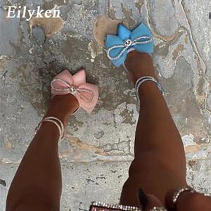Eilken Glitter Rhinestones Rosa Mujeres Bombas Crystal Bowknot Satin Summer Lady Shoes High Heels Party Stripper Shoes Tamaño 41 42 # 9U0L