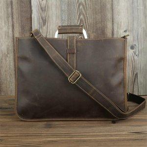 Nesitu de haute qualité Vintage Brown Brown Cuir Véritable Cuir A4 Office Hommes Sac à bretelles Messenger Sac Mâle Portefeuille M18231