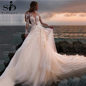 Country 2020 Illusion Long Sleeves Backless Lace Ball Gown Wedding Gowns Boho Bridal Dress Robe De Mariage Q1113