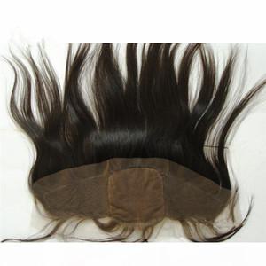 Coiffaires Brésiliens non traités Silky Silk Silk Base Dentelle Frontal Blanchie Nœuds Base de soie Base Oreille à l'oreille Fermeture frontale en dentelle 13x4