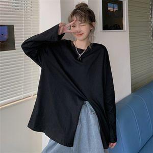 2020 Autumn New Korean style long-sleeved undercoat vanishing T-shirt Women's Mid-length loose side split inner base shirt