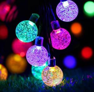 6.5M 30 LED Crystal ball Solar Powered Luzes Cordas LED Fada Luz para festa de Natal do casamento Festival ao ar livre Decoração Interior Com caixa