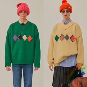 Свободный свитер Мужчины Женщина 1 верхнего качества V-образный вырез плед фуфайка трикотажная