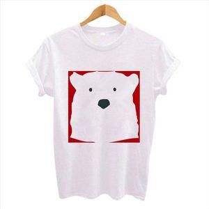 Summer New Fashion Cute bear print Women t shirt Hipster Short Sleeve O Neck tshirts Ladies White TShirt Tops