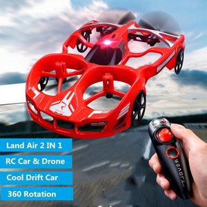 Land Air 2 in 1 Multifunction Remote Control Hovercraft Drone 2.4G Land RC Aircraft car With LED Light Cool gift Toys