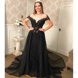2021 Gorgeous Black Evening Dresses Shinny Sequins Lace Short Sleeves A-Line Party Prom Gowns Illusion Vestidos De Gala Celebrity Dress