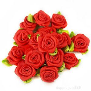 8color 2CM Artificial Silk Mini Rose Flowers Heads Make Satin Ribbon Craft Scrapbooking Applique Wedding Decoration