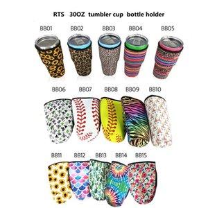 Basculle de baseball Bouchon de porte-baguette Sacs à manches isolées en néoprène Néoprène Étui pour la tasse à café de 30 oz Bouteille d'eau CCA12653 70PCS