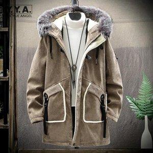 Invierno espesando abrigos de carga para hombre gamuza con capucha con capucha con encuadro High Street Warm Fleece Liner Casual Royalkers Masculino Masculino