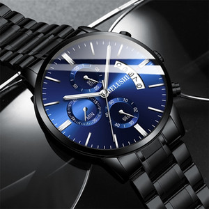 BELUSHI Fashion Men's Quartz Watch Chronograph Sport Men Watches Top Brand Luxury Full Steel Waterproof Clock Male Wristwatch 201204