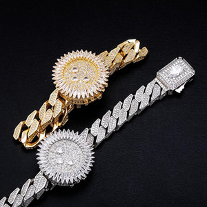 Hip Hop Full CZ Stone Paved Bling Iced Out Watch Shape Square Cuban Link Chain Bangles Bracelets for Men Rapper Jewelry