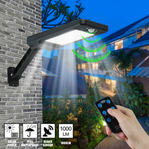 US Stock Solar Wall Lights Outdoor Waterproof Motion Sensor White Light 60LED Outdoor Dusk To Dawn Solar Lamp