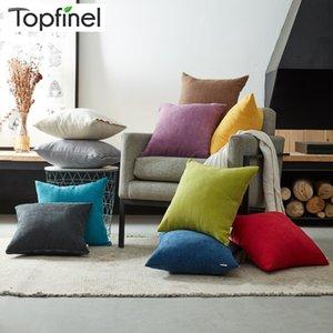 Топфинель мягкий Chenille сплошной цвет декоративных подушек для подушек чехлы чехлы для дивана домашнего офиса стул 10 цвет 45x45 см