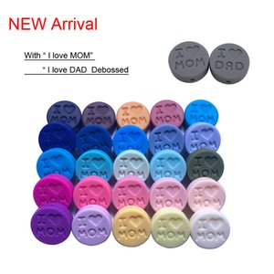 100 PC I Love Dad Mom Silicone Beads 18MM Bead DIY Pacifier Clips Jewelry Necklace Teething Accessories Silicone Baby Teether B1203