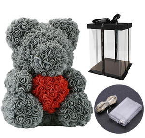 40cm Lovely Bear Of Roses With Led Gift Box Teddy Bear Rose Soap Foam Flower Artificial New Year Gifts For Valentine's Day Gift bbysqYM