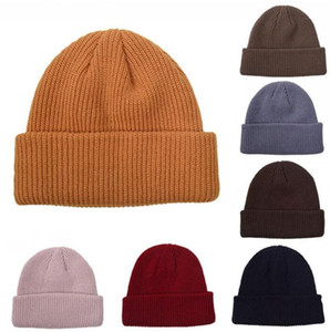 Knitted Hats Winter Warm Beanie Retro Dome Knitted Hats Outdoor Ski Windproof Coldproof Knitting Unisex Soild Color Adult Skull Caps BEB3330