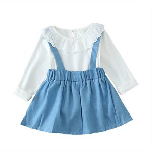 INS Spring Autumn baby girls suits sweet Infant Outfits princess girls outfits lace long sleeve T shirt+suspender skirt 2pcs set B2743