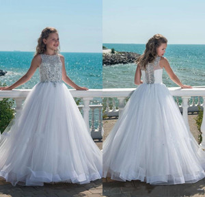 Luxury Beaded Crystal Girls Pageant Dresses With Tulle Beach Flower Girl Dresses for Weddings party birthday communion infant gown