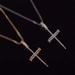 Hot Sales Man Women Nail Cross Necklace Pendant Hip hop Jewelry Bling Ice Out Cubic Zircon Cuban rope Chain For Gift 95 L2