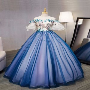 Princess Puffy Evening Dresses 3D Floral Appliqued Prom Gowns Chic Custom Made Sweep Train Blue Pageant Formal Party Dress