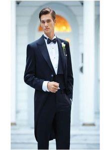 NOUVEAU HOMMES NOIRS HOMMAGE MATIN MATIN TRACKOATS LONGUE MARIAGE MARIAGE MARIAGE BEST HOMME Party Tuxedos