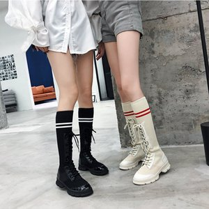 Hot Sale-Fashion elastic winter knee high boots female stretch socks designer lace-up thick heel long booties black white