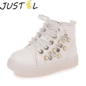 JUSTSL autumn children fashion casual light children's shoes rhinestones pearl LED shoes soft bottom girls fashion sneakers Y1118