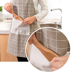 Yeni Anti-Petrol Kirliliği Pamuk Pişirme Pişirme Önlükleri Mutfak Önlük Restoran Önlükleri Kadınlar Için Ev Kolsuz Apron HHE3406