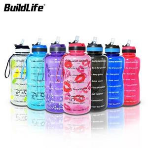BuildLife 1.3L 2L Тританская бутылка с водой с соломенной водой маркер BPA Бесплатные спортивные фитнес-кувшинцы Универсальные гимнастические гимнастические гимнастики 201128