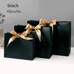 10pcs Gift Bag Present Paper Bag With Ribbon Wedding Pack Box Favors Birthday Party Bags  Pajamas Clothes Wig Packaging Q1127