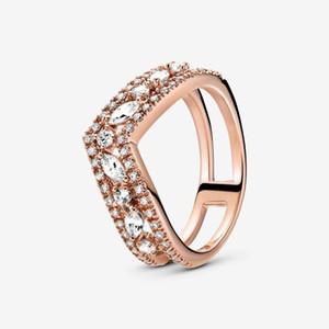 925 Sterling Silver 2020 Novo Outono Rosa Espumante Marquise Double Wishbone Ring para Mulheres Marca Original Anéis Jóias Presente
