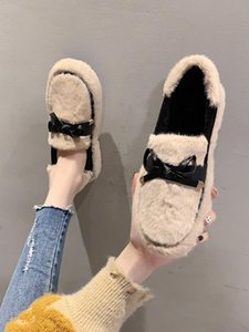 Casual Woman Shoe Modis Loafers Fur Platform Shallow Mouth Female Footwear Autumn Low Heels 2020 Creepers Dress Fall New