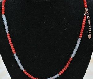 Nuovo 2x4mm Faceted Aquamarine Red Jade Rondelle Gemstone Perline Collana 18 ''