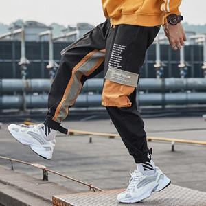 Autumn Men Fashion Pants Hip Hop Colorblock Men Street Fashion Pants Cargo Cotton Trsouers Punk Style Drawstring Trousers