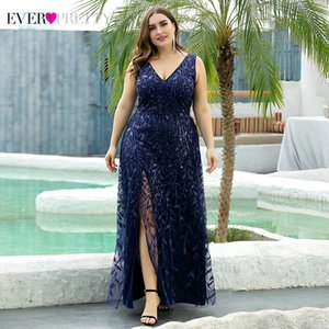 Plus Size Sequined Evening Dresses Ever Pretty A-Line V-Neck Side Split Embroidery Elegant Formal Evening Gowns Robe De Soiree 201119