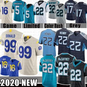 Derrick Henry 22 Christian McCaffrey 99 Aaron Donald Football Jersey 17 Ryan Tannehill 16 Jared Goff 5 Teddy Bridgewater 59 Luke Kuechly