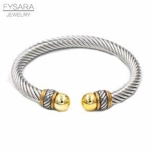 Fissara Cable Wire Twist Polsino imitazione Perle Designer Brand Brand Bangles Braccialetti Donne Bracciali