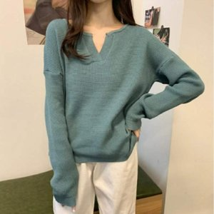 Sisjuly Solid Color Women Casual Sweater Street Wear Simple V-neck Korean Sytle Sweet Jumper Autumn Basic Bottoming Top Pullover